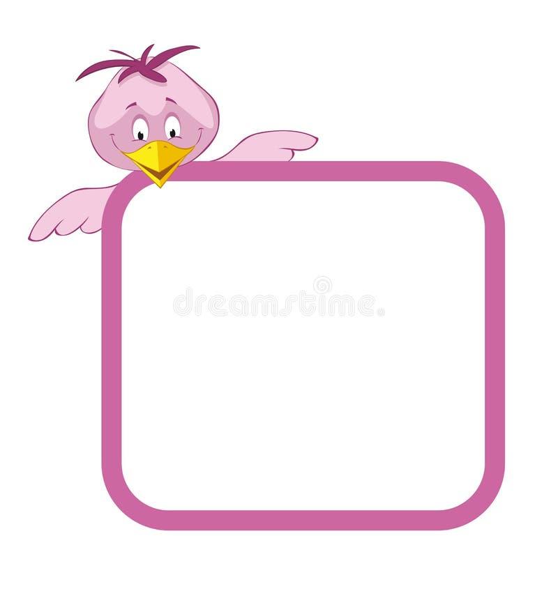 Pájaros del marco de escritura de la etiqueta stock de ilustración