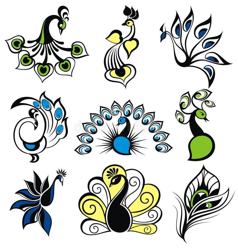 Pájaros del pavo real stock de ilustración