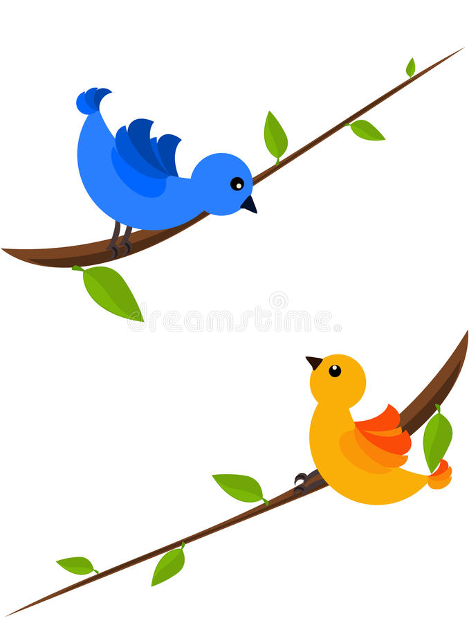 Pájaros del resorte ilustración del vector