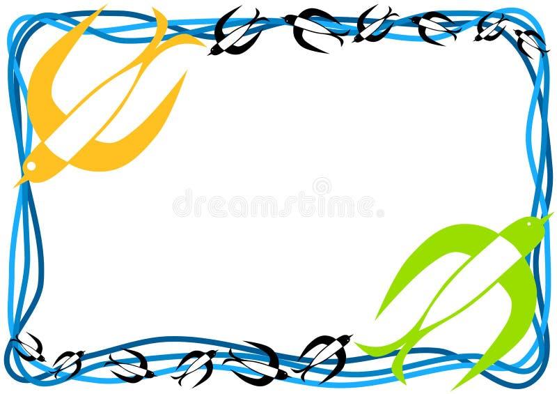 Pájaros del trago que vuelan el marco ilustración del vector