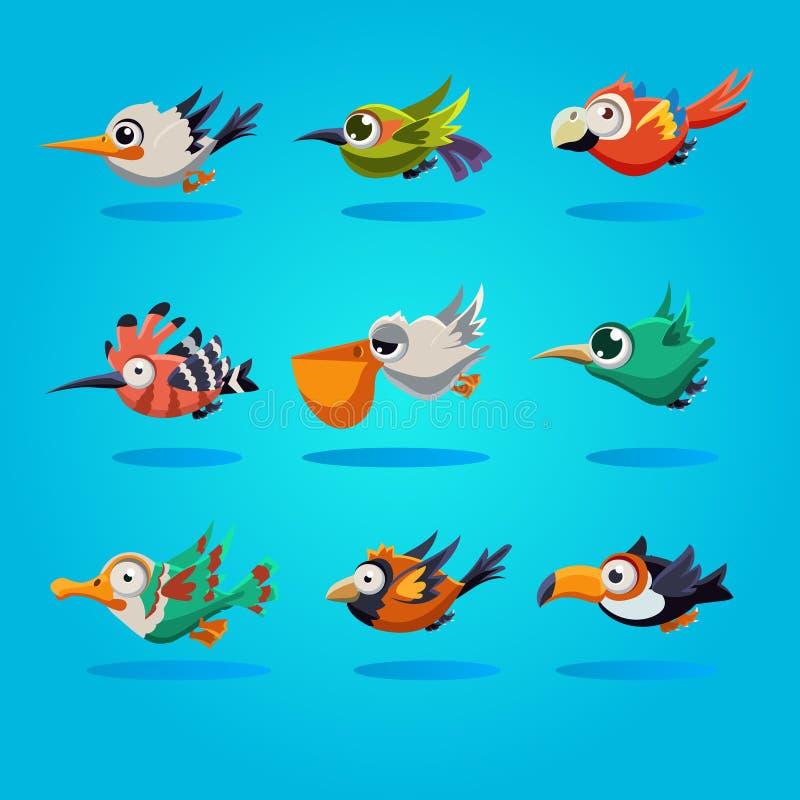 Pájaros divertidos de la historieta, ejemplo stock de ilustración