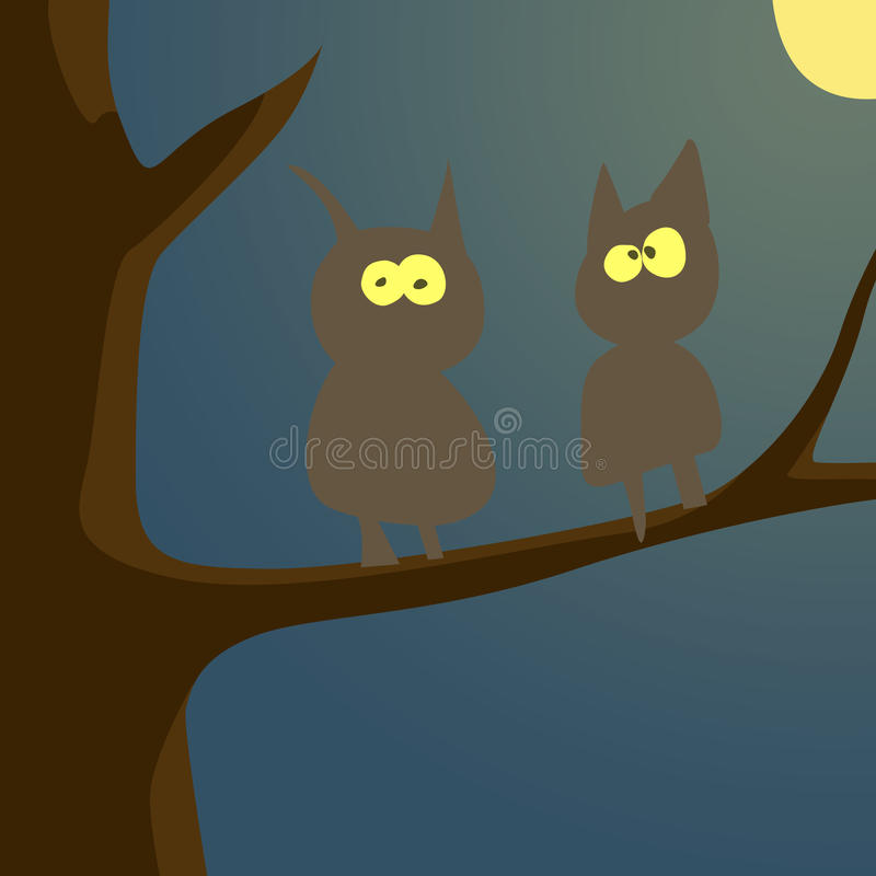 Pájaros en árbol libre illustration