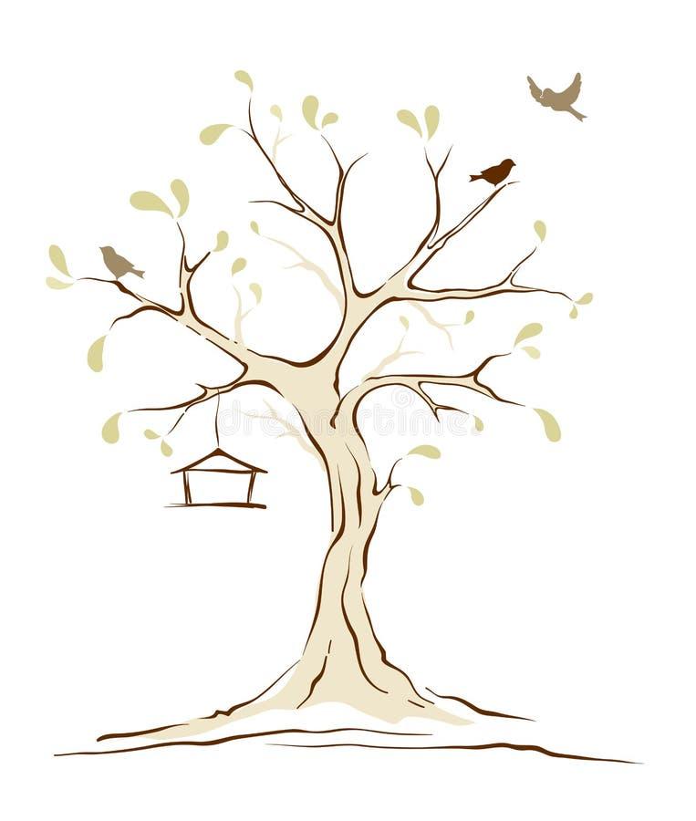 Pájaros en árbol de la primavera ilustración del vector