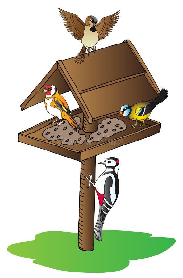 Pájaros en alimentador ilustración del vector