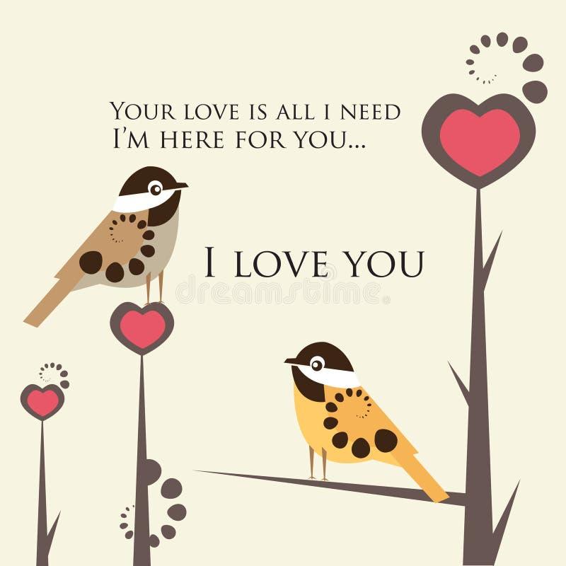 Pájaros en amor stock de ilustración