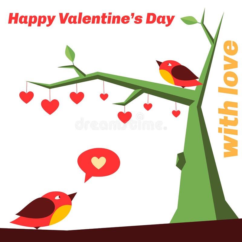 Pájaros en amor en el árbol, lleno de corazones ilustración del vector