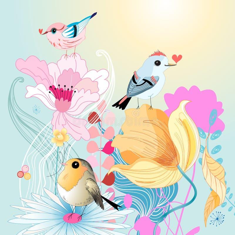 Pájaros en amor en los floretes stock de ilustración