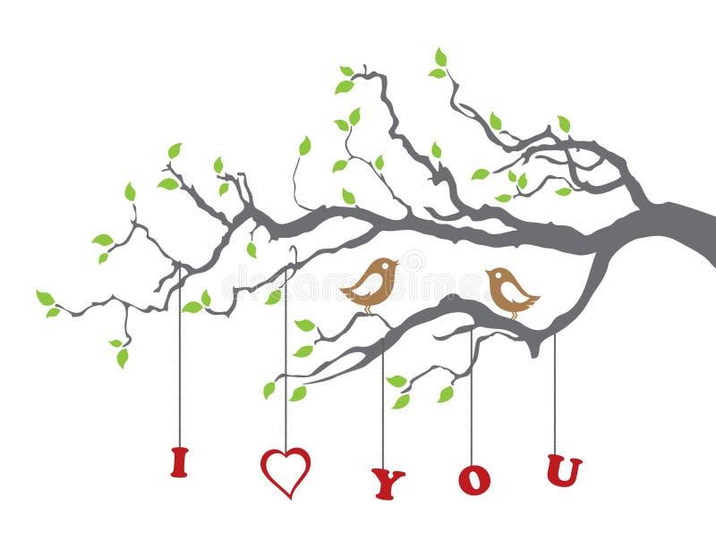 Pájaros en amor en una ramificación de árbol ilustración del vector