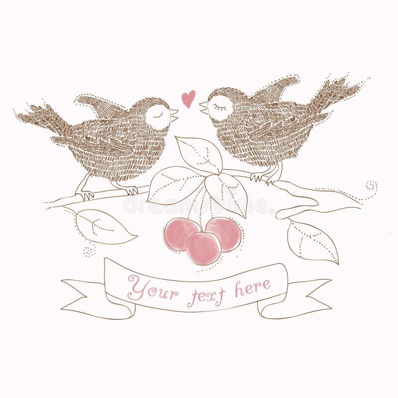 Pájaros en amor - tarjeta hermosa stock de ilustración