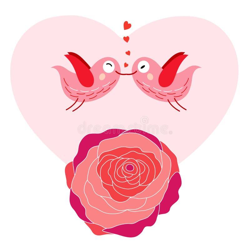 Pájaros en amor y rosas libre illustration