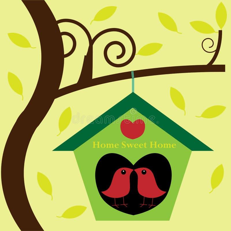 Pájaros en casa de árbol ilustración del vector
