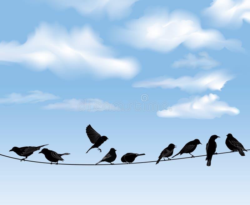 Pájaros en cielo azul ilustración del vector