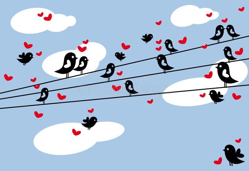 Pájaros en el alambre stock de ilustración