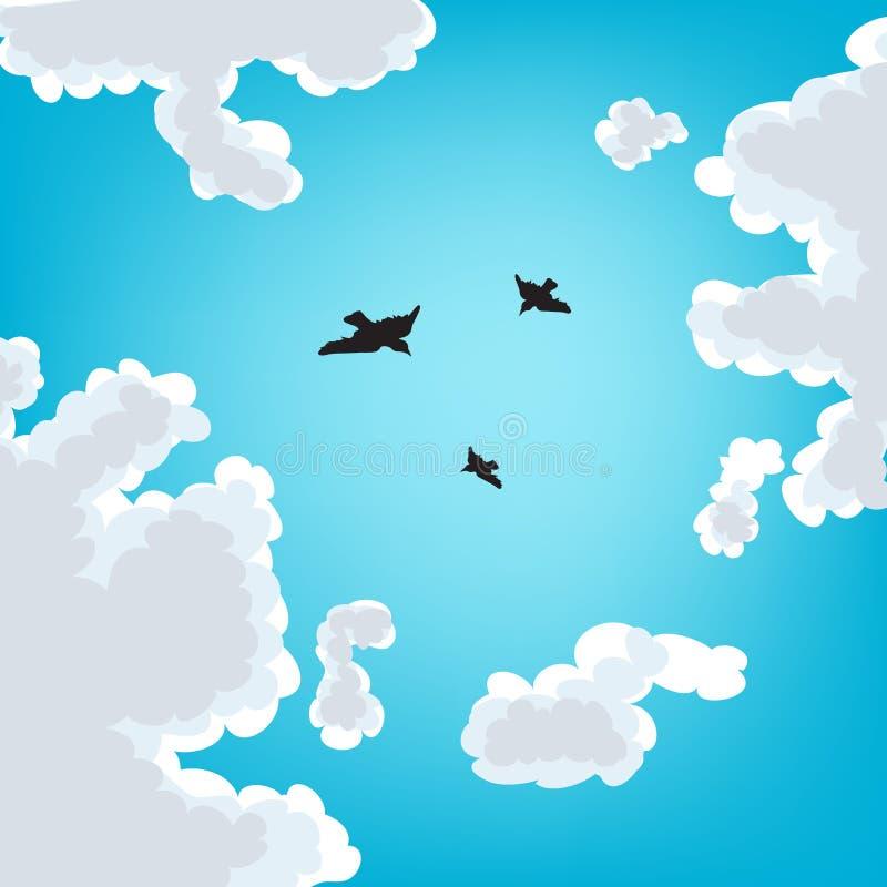 Pájaros en el cielo stock de ilustración