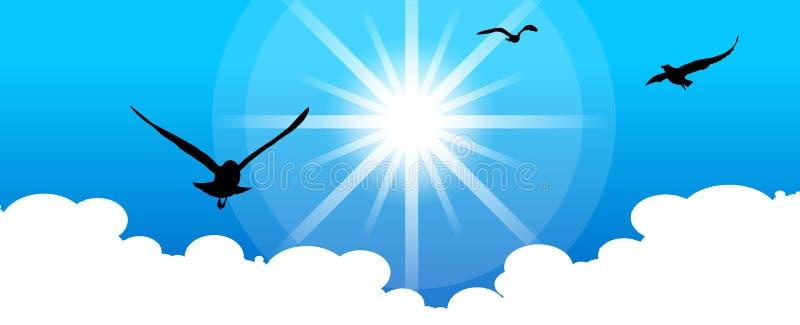 Pájaros en el cielo ilustración del vector