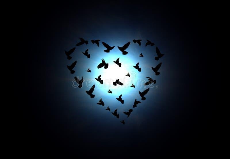 Pájaros en forma de corazón libre illustration