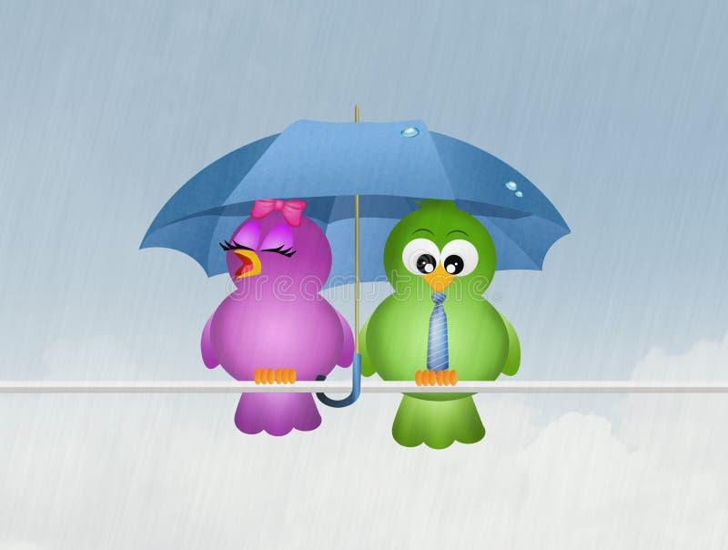 Pájaros en la lluvia libre illustration