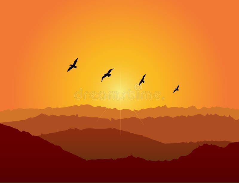 Pájaros en la puesta del sol libre illustration