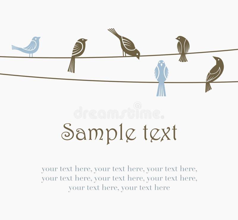 Pájaros en los alambres stock de ilustración