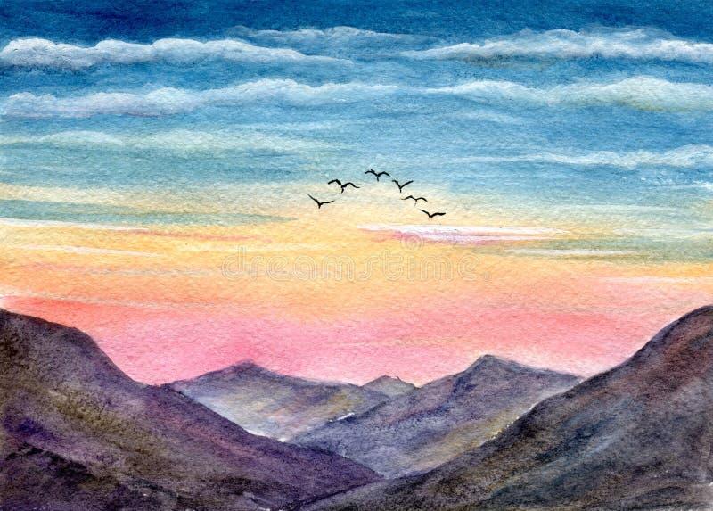 Pájaros en montañas Ejemplo pintado a mano de la acuarela stock de ilustración