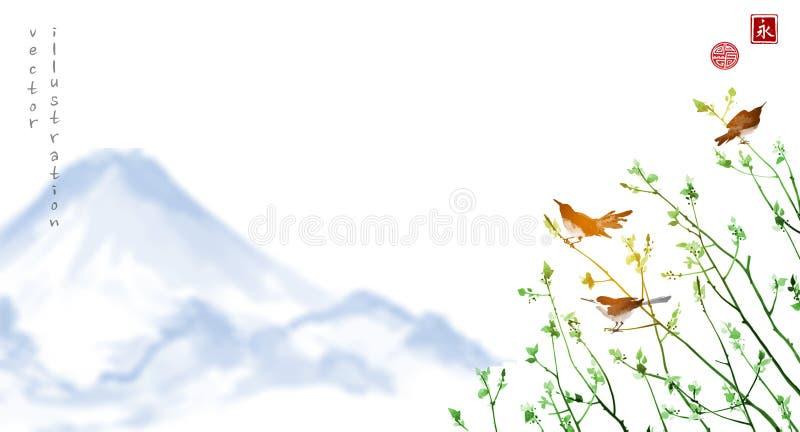 Pájaros en ramas de árbol jovenes y montañas azules lejanas tradicional ilustración del vector