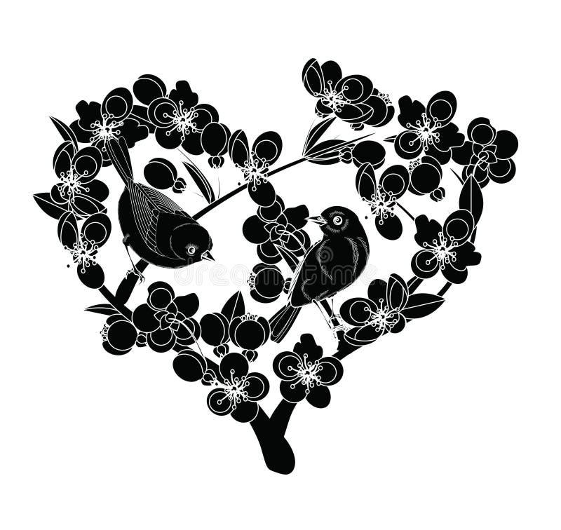 Pájaros en ramas florecientes stock de ilustración