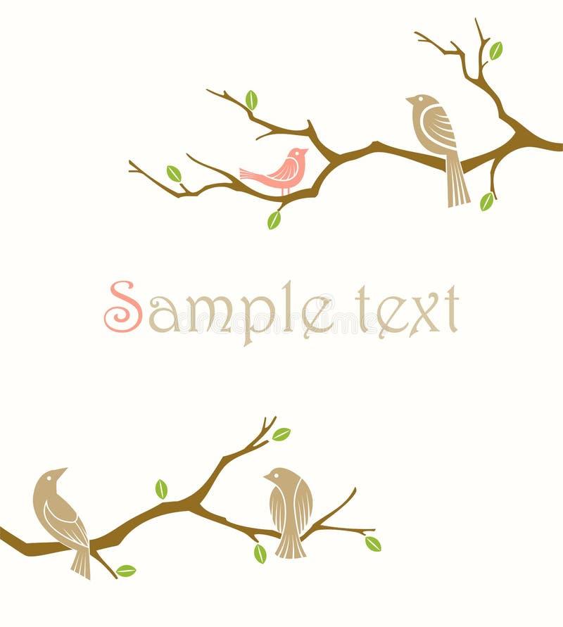 Pájaros en ramificaciones ilustración del vector