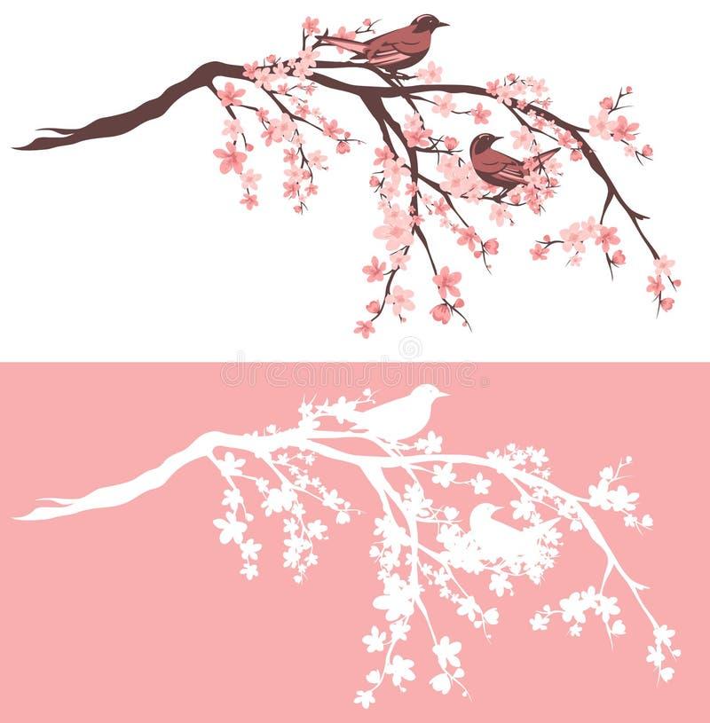 Pájaros en sistema floreciente del diseño del vector del árbol de Sakura ilustración del vector