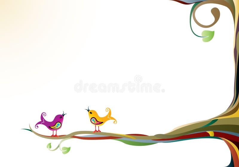 Pájaros en un árbol stock de ilustración