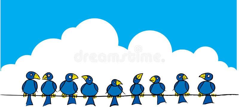 Pájaros en un alambre stock de ilustración