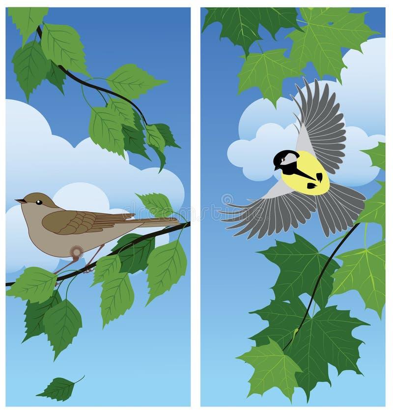 Pájaros entre las ramas stock de ilustración