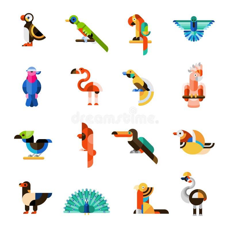 Pájaros exóticos fijados ilustración del vector
