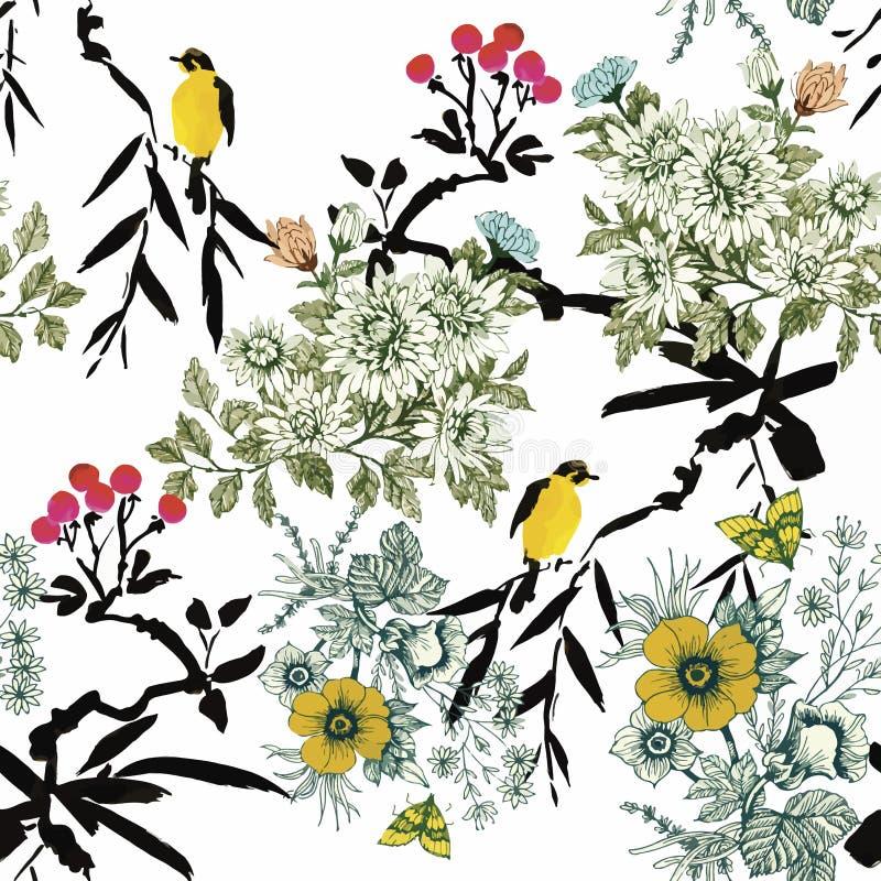 Pájaros exóticos salvajes de la acuarela en modelo inconsútil de las flores en el fondo blanco libre illustration