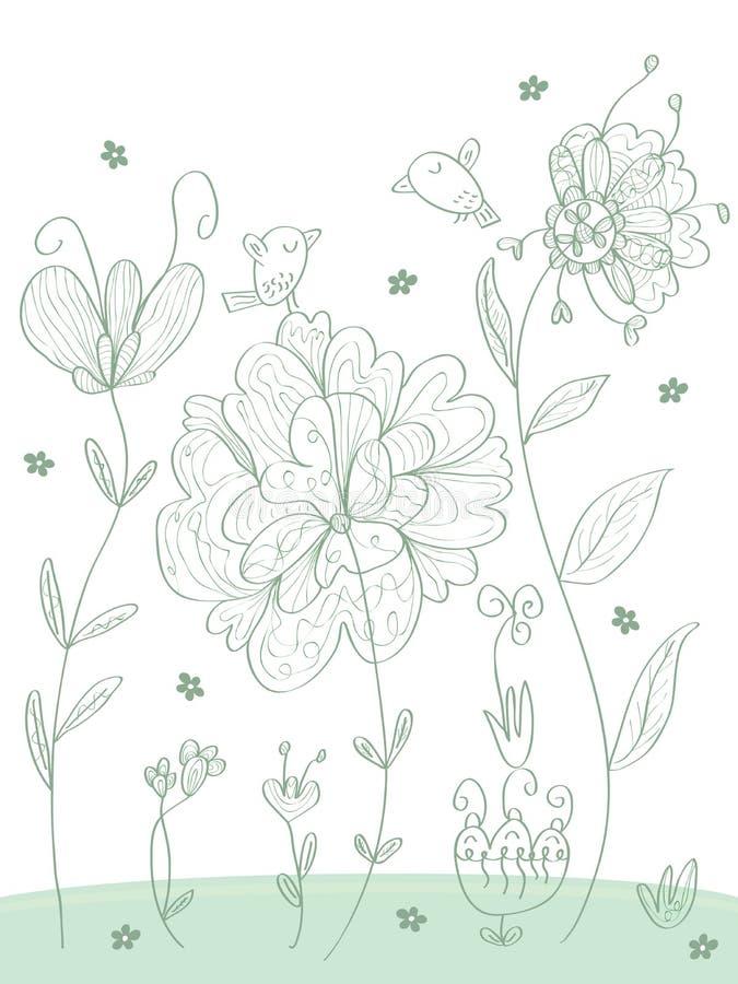 Pájaros Flowers_eps ilustración del vector