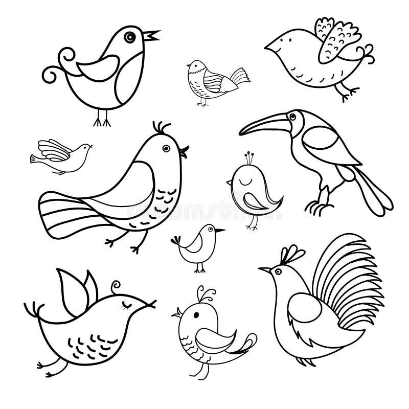 Pájaros hechos a mano ilustración del vector