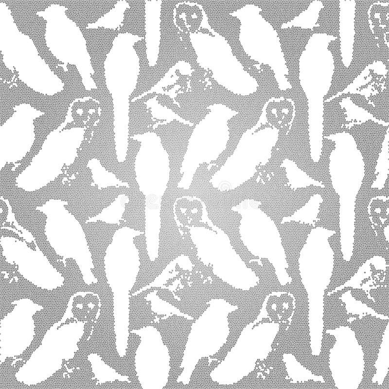 Pájaros inconsútiles del fondo de los pájaros del efecto salvaje del mosaico de América stock de ilustración