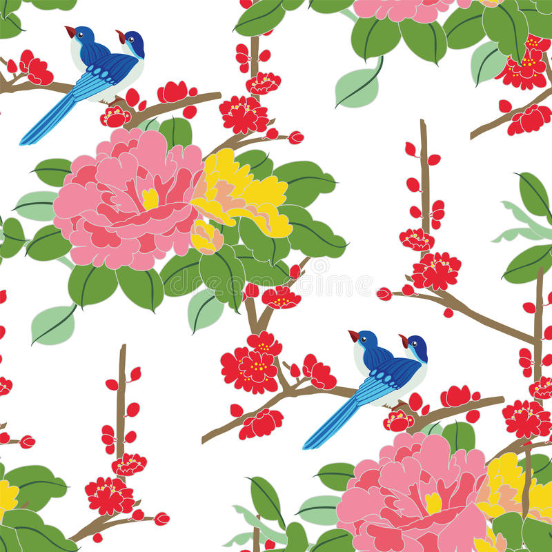 Pájaros inconsútiles del japonés del modelo libre illustration