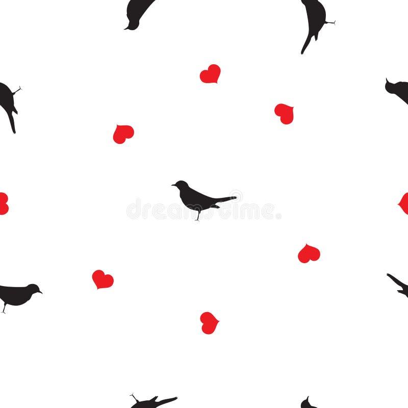 Pájaros inconsútiles del negro del modelo, corazones rojos en el blanco, vector EPS 10 ilustración del vector