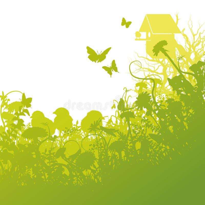 Pájaros jovenes y casa del pájaro ilustración del vector