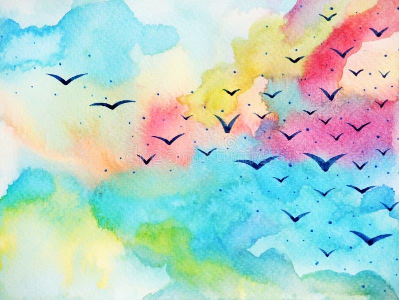 Pájaros libres que vuelan en el ejemplo fresco de la pintura de la acuarela del cielo ilustración del vector