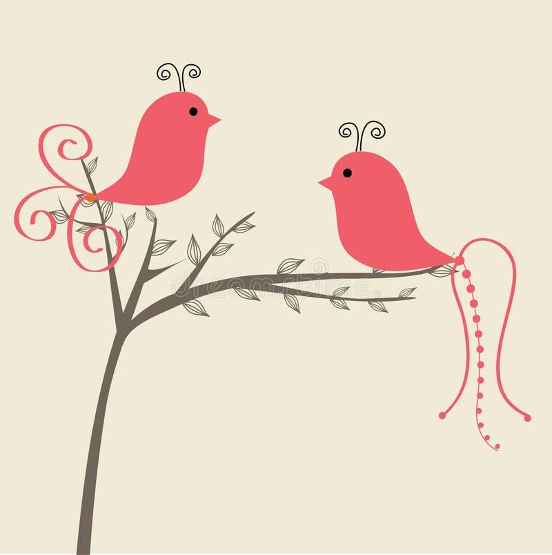 Pájaros lindos stock de ilustración