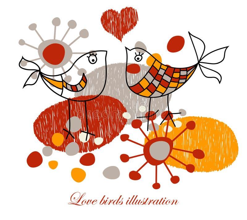 Pájaros lindos del amor ilustración del vector