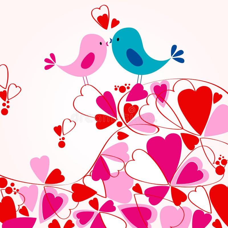 Pájaros lindos en amor libre illustration