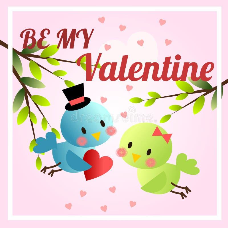 Pájaros lindos en el tema de día de San Valentín Sea mi fondo de la tarjeta del día de San Valentín ilustración del vector