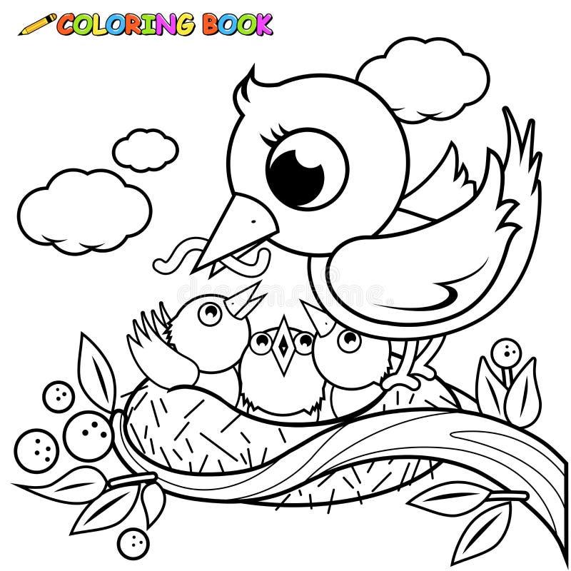 Pájaros lindos en la página del libro de colorear de la jerarquía ilustración del vector
