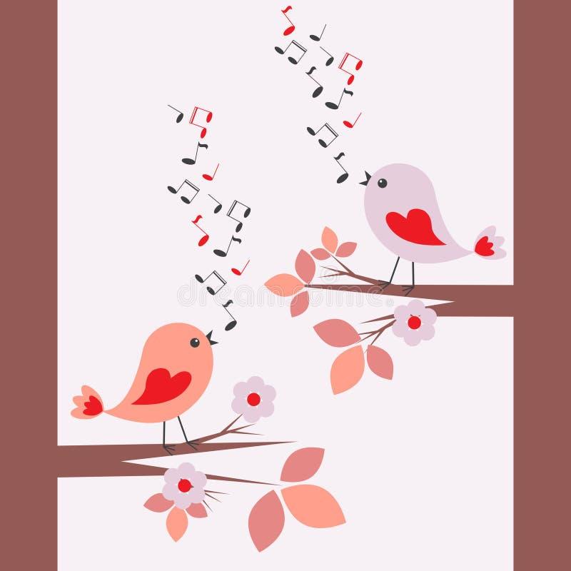 Pájaros lindos que cantan libre illustration