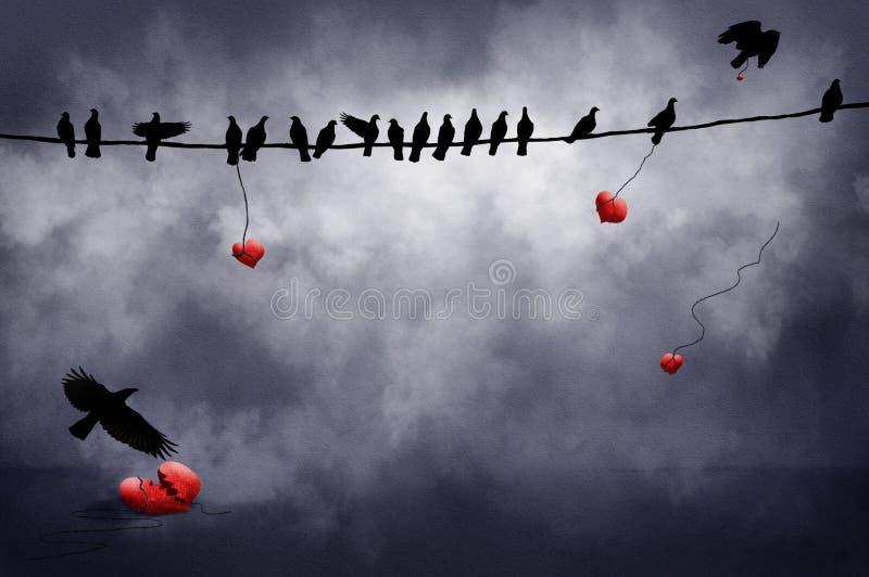 Pájaros negros con los corazones ilustración del vector