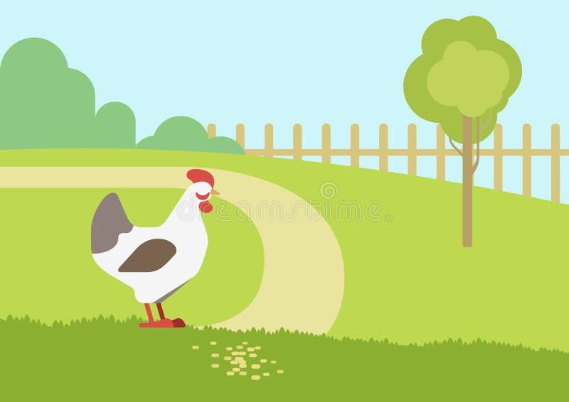 Pájaros planos de los animales del campo del vector de la historieta del hábitat de la granja de la gallina del pollo ilustración del vector