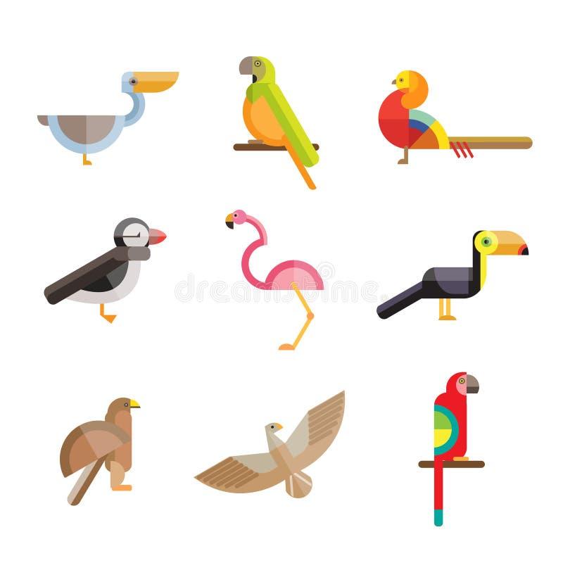 Pájaros planos hechos de figuras geométricas ilustración del vector