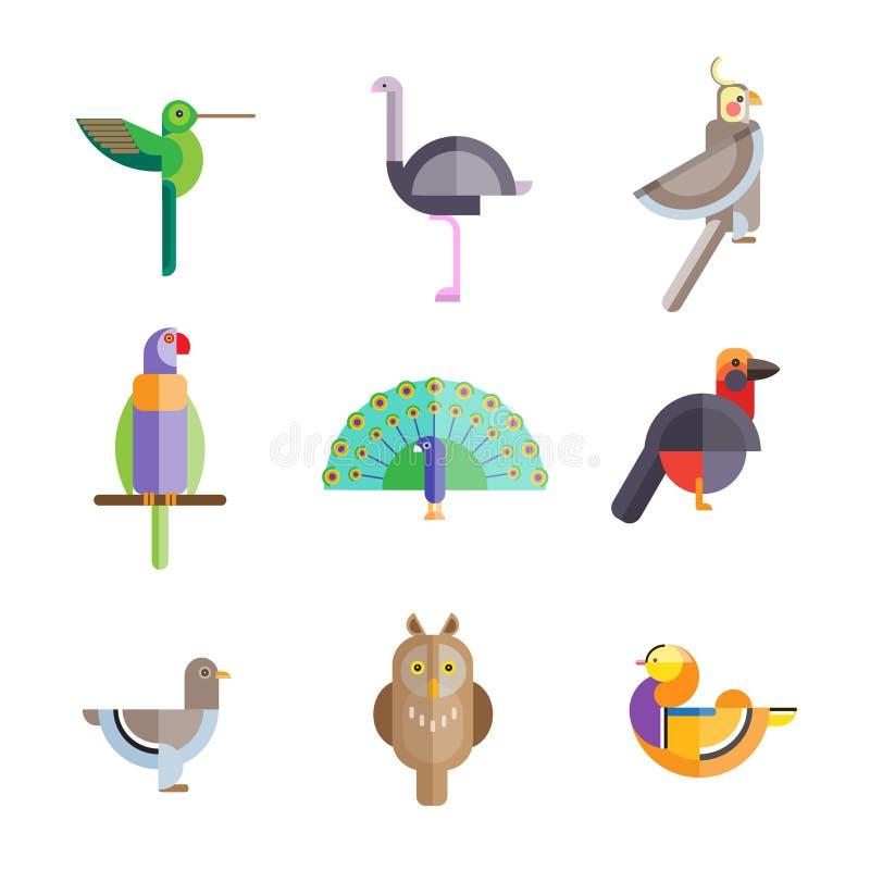 Pájaros planos hechos de figuras geométricas stock de ilustración